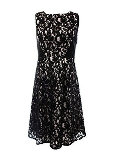 Calvin Klein Women's Lace Fit and Flare Dress with Solid Waits Inserts, Black, 10