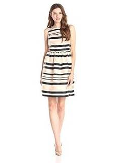 Calvin Klein Women's Lace Stripe Fit and Flare Dress, Multi, 6