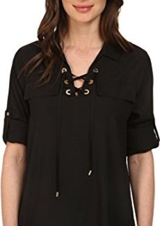 Calvin Klein Women's Lace-Up Top with Collar, Black, Small