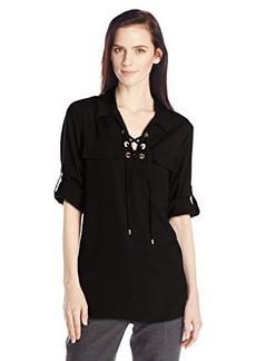 Calvin Klein Women's Lace-Up Top with Collar, Black, Medium