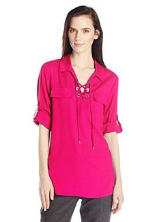 Calvin Klein Women's Lace-Up Top with Collar, Hibiscus, Medium