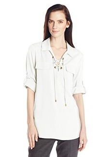 Calvin Klein Women's Lace Up Top with Collar, Soft White, X-Large