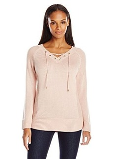 Calvin Klein Women's Lace Up V-Neck Sweater, Blush, Small