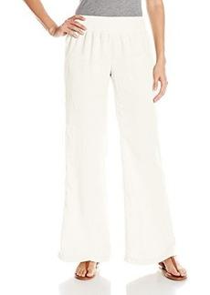 Calvin Klein Women's Linen Pant with Waistband, Soft White, Small