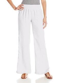Calvin Klein Women's Linen Pant with Waistband, Slate, X-Small