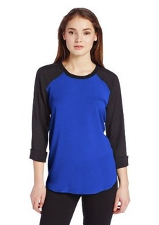 Calvin Klein Women's Long Sleeve Colorblock Rib Neck Top