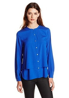 Calvin Klein Women's Long Sleeve Double Layer Top, Celestial, Medium