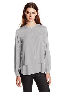 Calvin Klein Women's Long Sleeve Double Layer Top, Tin, Large