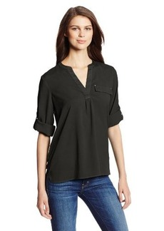Calvin Klein Women's Long-Sleeve Mixed-Media Top