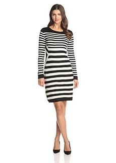 Calvin Klein Women's Long Sleeve Multi Striped Sweater Dress, Black/Eggshell, Large