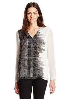 Calvin Klein Women's Long Sleeve Print Invert Pleat Blouse, Black Stripe, Medium