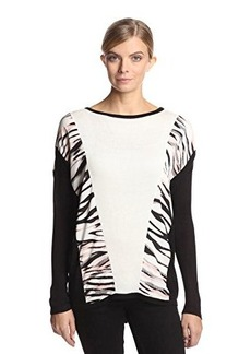 Calvin Klein Women's Printed Color-Block Sweater