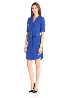 Calvin Klein Women's Long Sleeve Shirt Dress with Zipper Detail, Celestial, 10