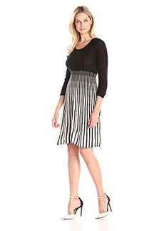 Calvin Klein Women's Long Sleeve Stripe Fit and Flare Sweater Dress, Black/Ivory, Small