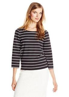 Calvin Klein Women's Long Sleeve Striped Top, Black/White, Small