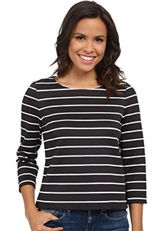 Calvin Klein Women's Long Sleeve Striped Top, Black/White, X-Large