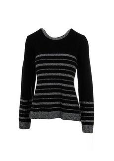 Calvin Klein Women's Marled Stripe Sweater, Black, Large