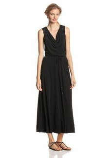 Calvin Klein Women's Maxi Dress with Faux Leather Trim