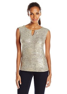 Calvin Klein Women's Metallic Cap Sleeve, Gold, Large