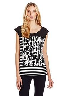 Calvin Klein Women's Mixed Print Tank, Black/Soft White Combo, Large