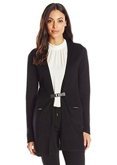 Calvin Klein Women's Modern Essential Cardigan with Buckle, Black, X-Large