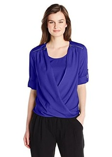 Calvin Klein Women's V-Neck Drape Roll Sleeve, Regatta, Large
