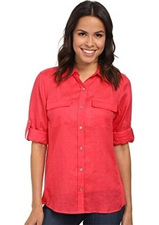 Calvin Klein Women's Modern Essential Linen Roll Sleeve Blouse with Knit Inset, Watermelon, Medium