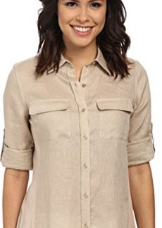 Calvin Klein Women's Modern Essential Linen Roll Sleeve Top with Knit Inset,Latte,Small