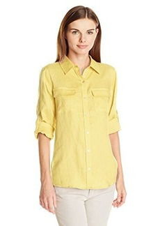 Calvin Klein Women's Knit Inset Roll Sleeve Blouse, Daisy, Small