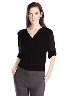 Calvin Klein Women's Modern Essential Ruffle Front Blouse, Black, Small