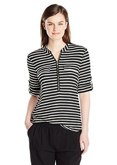 Calvin Klein Women's Stripe Zip Front Roll Sleeve Blouse