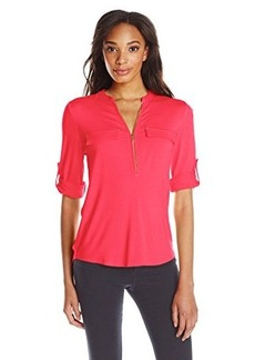 Calvin Klein Women's Modern Essential Zip Front Roll Sleeve Blouse, Watermelon, X-Large