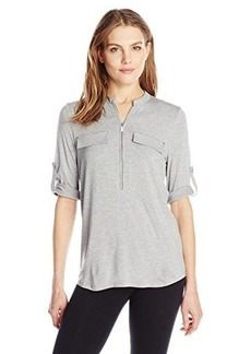 Calvin Klein Women's Solid Zip Front Roll Sleeve Blouse, Heather Granite, Medium