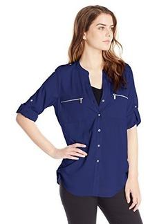 Calvin Klein Women's Modern Essential Zipper Button Front Blouse