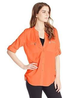 Calvin Klein Women's Zipper Roll Sleeve Top, Bittersweet, X-Small