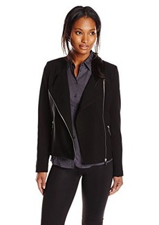 Calvin Klein Women's Moto Jacket with Faux Leather, Black, 2