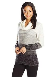 Calvin Klein Women's Ombre Cowl Neck Sweater, Soft White Multi Heg/Black, Large