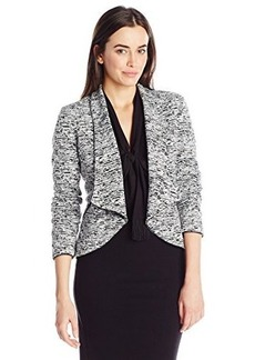 Calvin Klein Women's Open Jacket with Faux Leather Tipping, White/Black Heather, Small