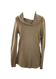 Calvin Klein Women's Ottoman Stitch Cowl Sweater, Heather Frappe, Large