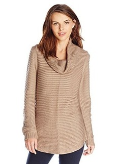 Calvin Klein Women's Ottoman Stitch Cowl Sweater, Heather Frappe, X-Small