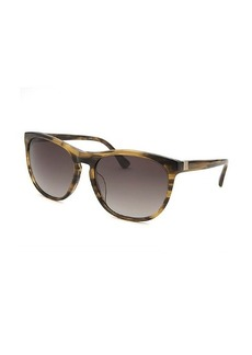 Calvin Klein Women's Oversized Striped Light Brown Sunglasses