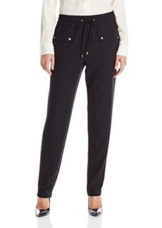 Calvin Klein Women's Pant with Cargo Pockets, Black, Small