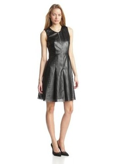 Calvin Klein Women's Perforated Faux Leather Fit-and-Flare Dress