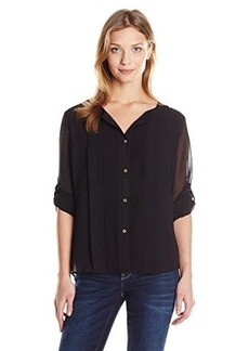 Calvin Klein Women's Pleated Chiffon Top, Black, Medium