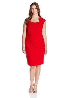 Calvin Klein Women's Plus-Size Cap-Sleeve Side-Rouched Sheath Dress