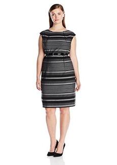 Calvin Klein Women's Plus-Size Cap-Sleeve Striped Belted Dress