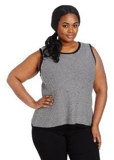 Calvin Klein Women's Plus-Size Chevron Sleeveless Sweater