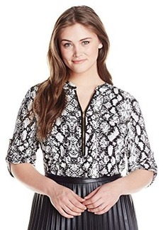 Calvin Klein Women's Plus-Size Print Zip Front Roll Sleeve Top
