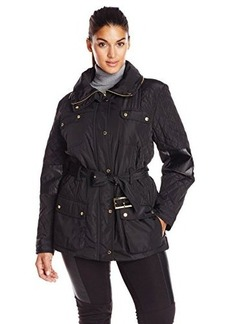 Calvin Klein Women's Plus-Size Quilted Jacket with Belt