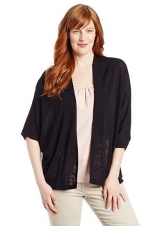 Calvin Klein Women's Plus-Size Short-Sleeve Burnout Cardigan Sweater